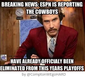 The Cowboys have already officially been eliminated from this years playoffs